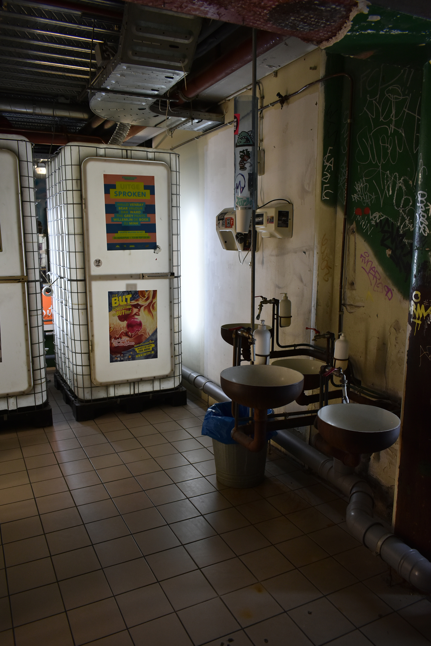 Industrial style toilets in a Rotterdam bar.
