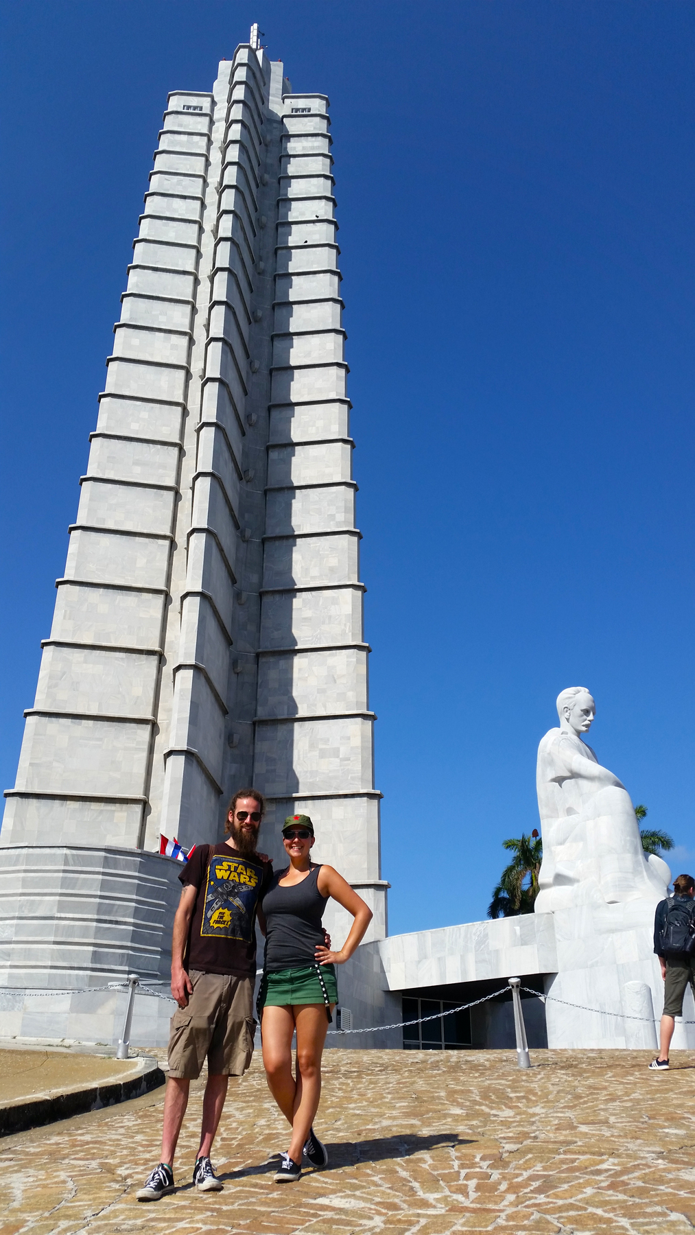 A photo taken in front of Jose Marti Memorial. The angle is a bit from the bottom so the memorial height looks even more imposing.