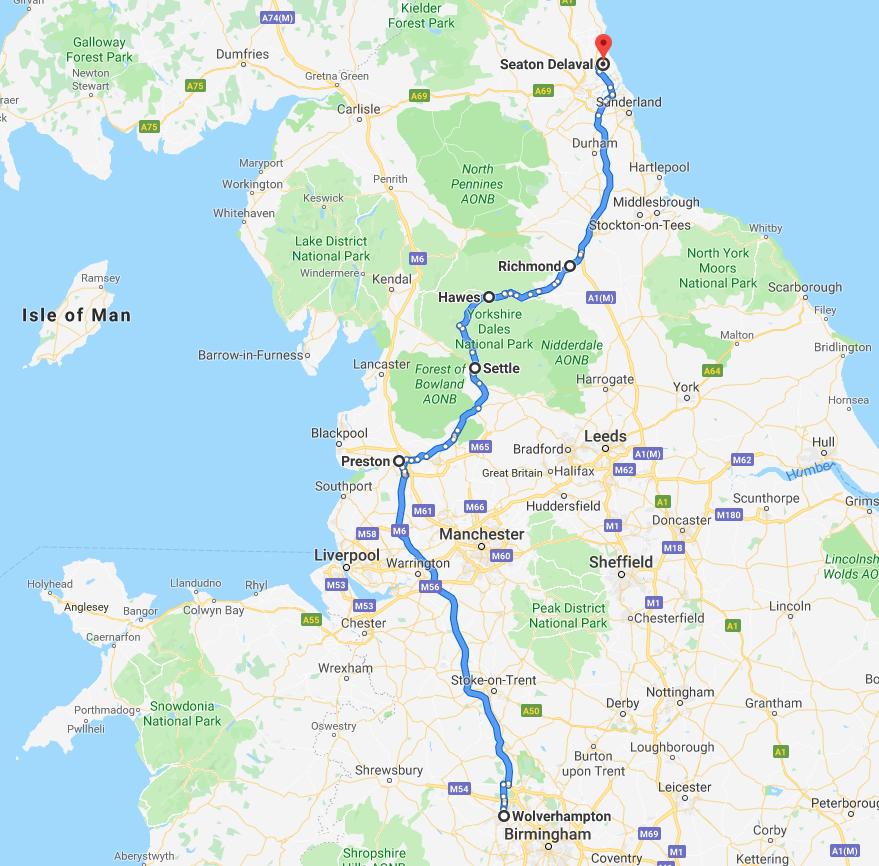 Wolverhampton to Seaton