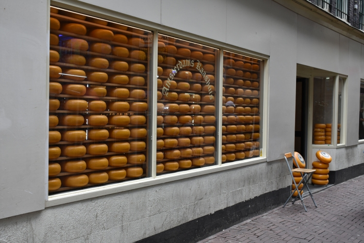 The beautiful symmetry of cheese in a shop window.