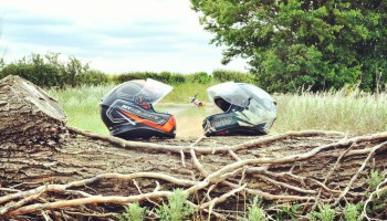 A picture of the helmets and out bike taken by the road somewhere in Essex