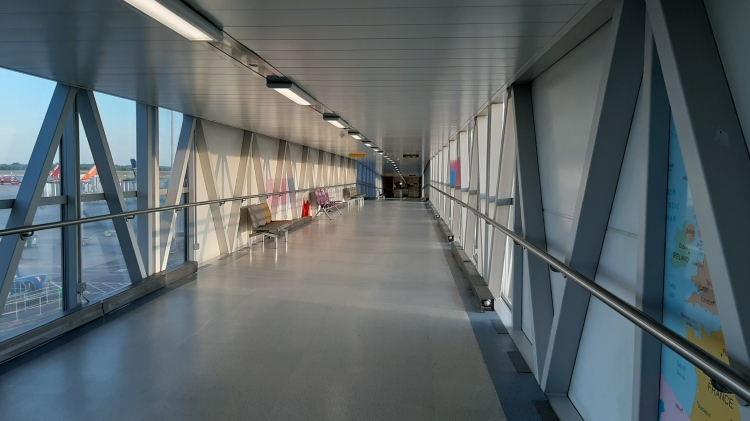 Empty corridors of Stansted airport during the coronavirus pandemic