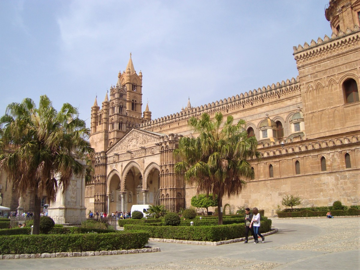 the view of the imposing Palermo cathedral.
