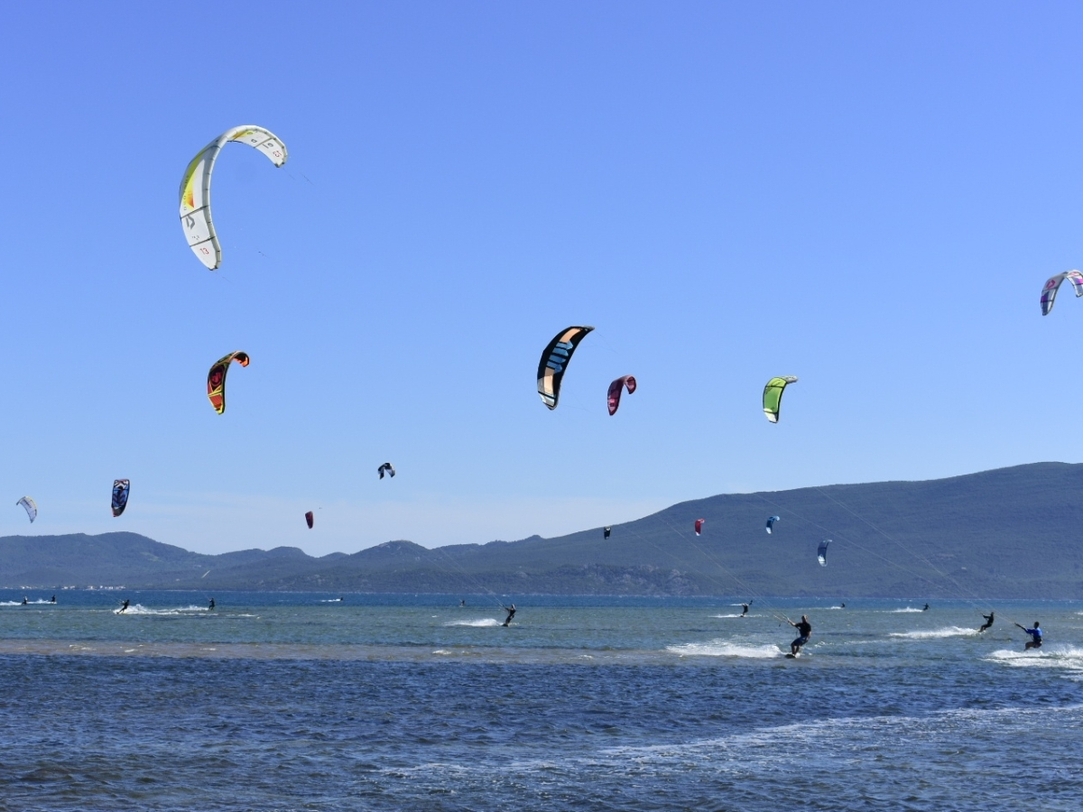 Panoramic shot of kiteboarders on river Neretva. The kites are contrasted against the clear blue sky.